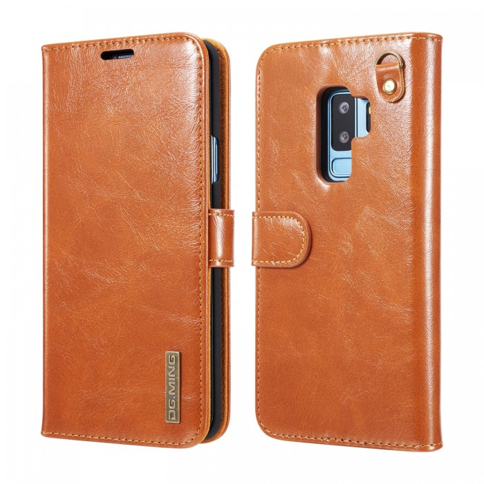 DG MING S9 Case Flip Cover Leather Wallet Magnetic Detachable Back Cover Works With Magnetic Car Stand for Samsung Galaxy S9 - Vintage Brown