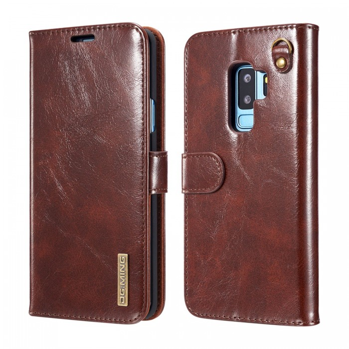 DG MING S9 Case Flip Cover Leather Wallet Magnetic Detachable Back Cover Works With Magnetic Car Stand for Samsung Galaxy S9 - Vintage Coffee