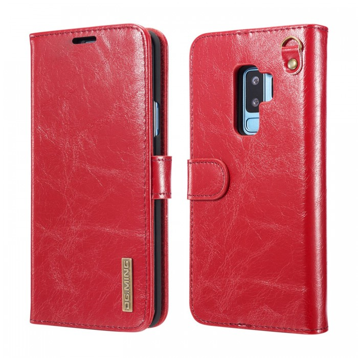 DG MING S9 Case Flip Cover Leather Wallet Magnetic Detachable Back Cover Works With Magnetic Car Stand for Samsung Galaxy S9 - Vintage Red
