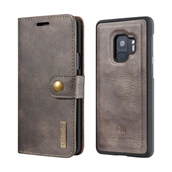 DG MING S9 Plus + Case Flip Cover Leather Wallet Magnetic Detachable Back Cover for Samsung Galaxy S9 Plus Samsung Galaxy S9+ - Grey