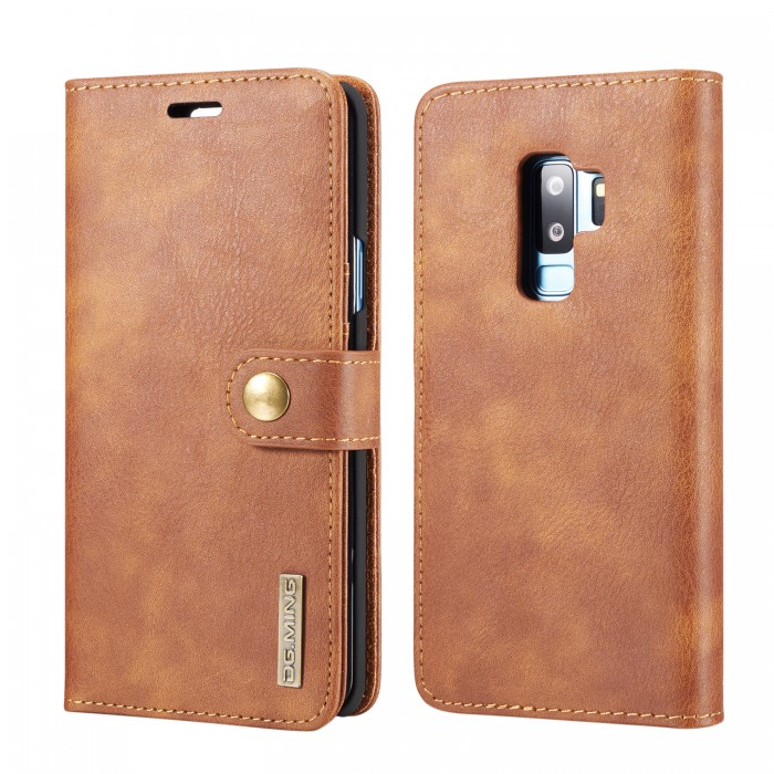 DG MING S9 Plus + Case Flip Cover Leather Wallet Magnetic Detachable Back Cover for Samsung Galaxy S9 Plus Samsung Galaxy S9+ - Brown