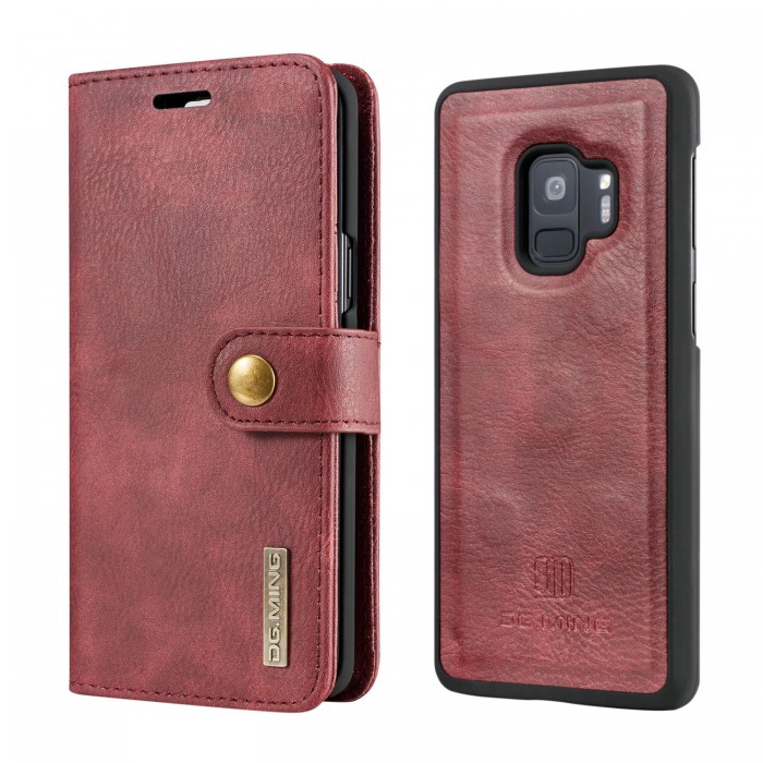 DG MING S9 Plus + Case Flip Cover Leather Wallet Magnetic Detachable Back Cover for Samsung Galaxy S9 Plus Samsung Galaxy S9+ - Red
