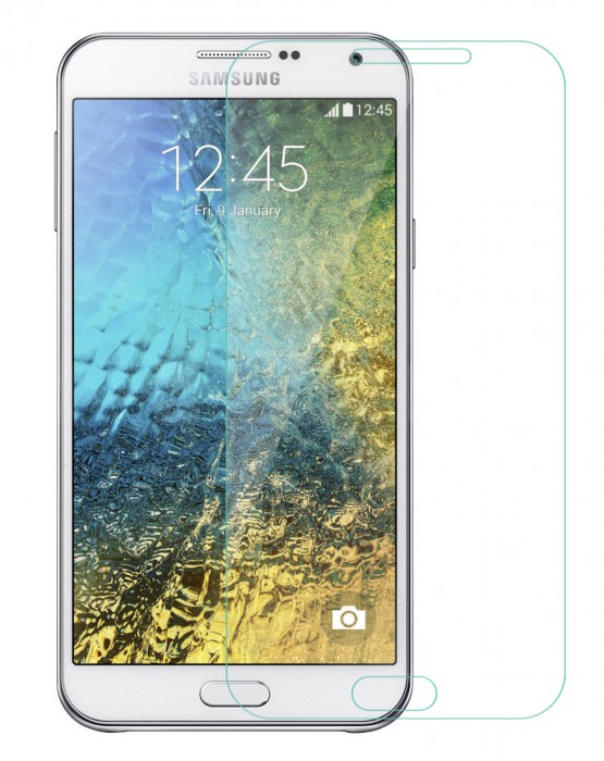 Galaxy E5 Tempered Glass, Flexible Glass, (HOKO) (Shatter Proof 0.3mm 2.5D Round Edge) Anti Oil Real Tempered Glass With Electroplating Coating for Samsung Galaxy E5