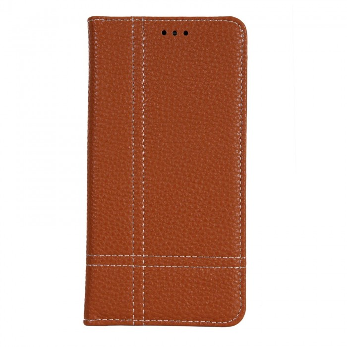 Cubix Wallet Case PU Leather Flip Folio Kickstand - [Slim Fit] Vintage Flip Case Cover with Stand Function For Samsung Galaxy S8 (Brown)