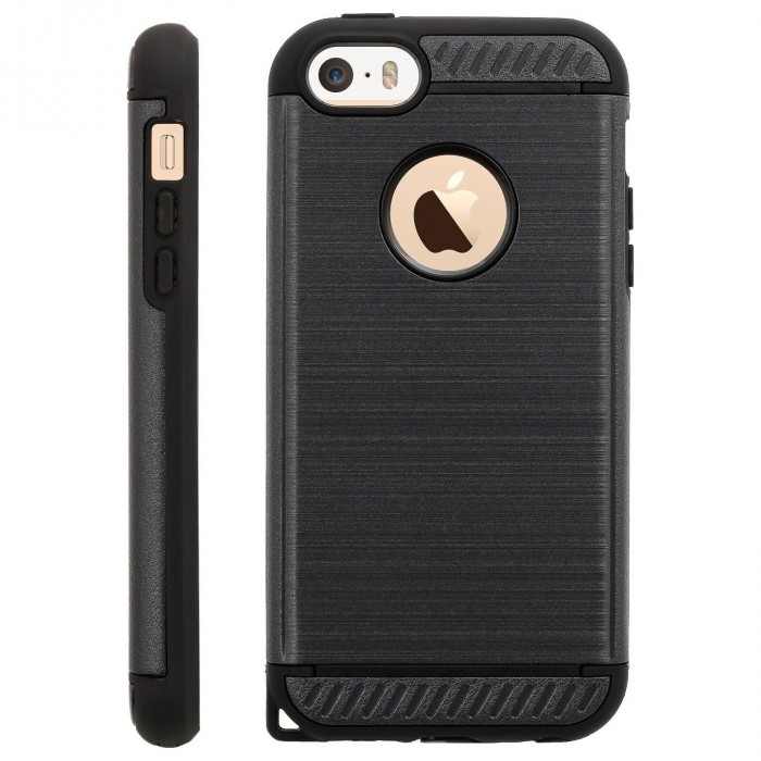 Cubix [Titan Series] Brushed Lines Heavy Duty Dual Layer [Full Grip] Case Back cover for Apple iPhone 5, Apple iPhone 5s, Apple iPhone SE (Black)