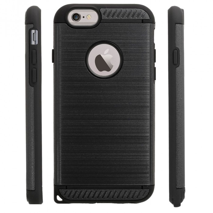 Cubix [Titan Series] Brushed Lines Heavy Duty Dual Layer [Full Grip] Case Back cover for Apple iPhone 6 & iPhone 6s (4.7 Inch) (Black)