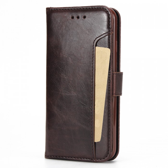 Cubix Wallet Case PU Leather Flip Folio Kickstand Wallet Case with Card Slots For Apple iPhone 7, Apple iPhone 8 (Brown)