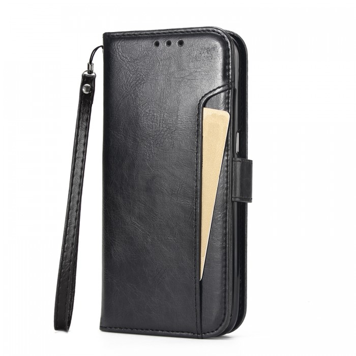 Cubix Wallet Case PU Leather Flip Folio Kickstand Wallet Case with Card Slots For Samsung Galaxy S7 edge (Black)