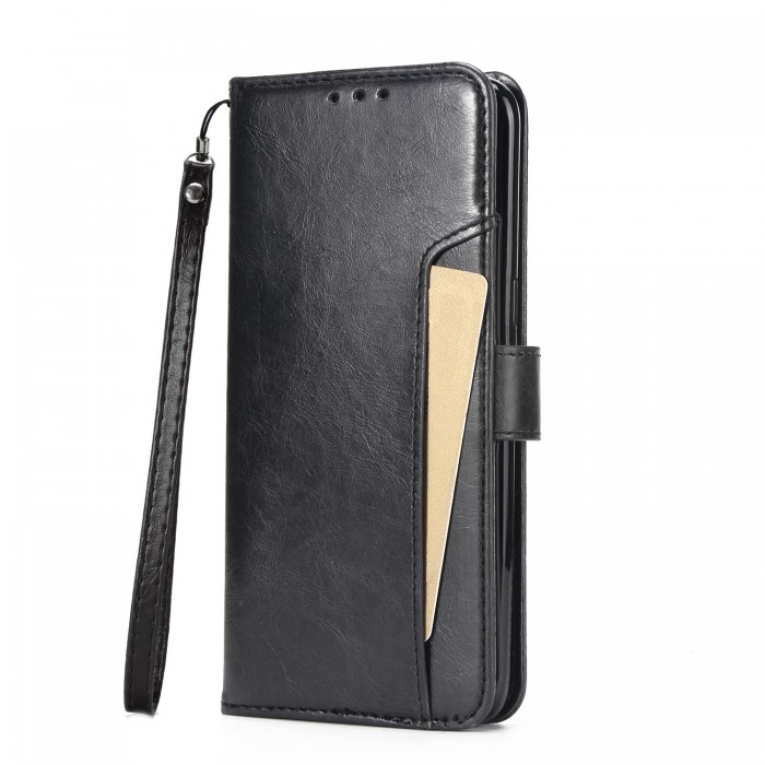 Cubix Wallet Case PU Leather Flip Folio Kickstand Wallet Case with Card Slots For Samsung Galaxy S8 (Black)