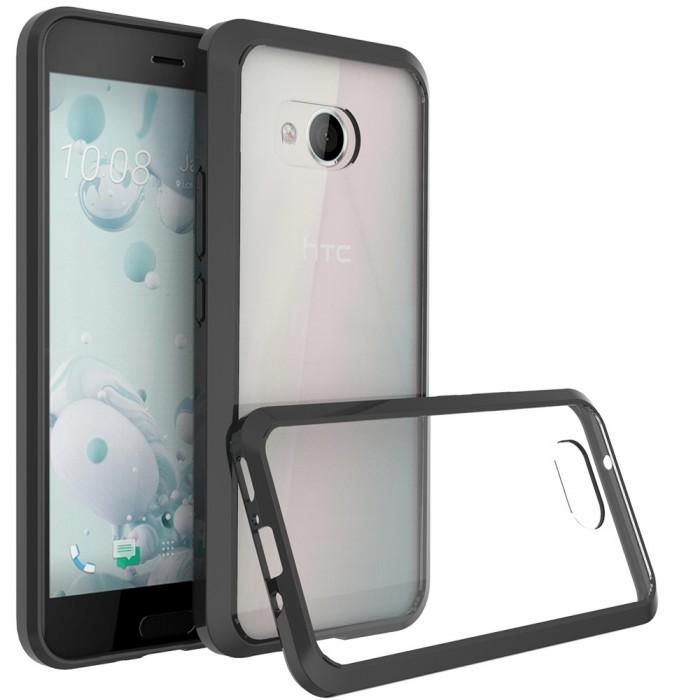 CUBIX Hybrid Air Case Soft Bumper and Hard Acrylic Crystal Transparent Back Cover TPU Cover Case for HTC U11 (Black) Scratch Resistant Shock Absorbing