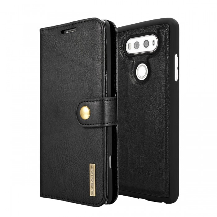 DG MING LG G6 Case Flip Cover Leather Wallet Magnetic Detachable Back Cover for LG G6 - Black