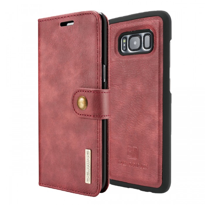 DG MING S8 Case Flip Cover Leather Wallet Magnetic Detachable Back Cover for Samsung Galaxy S8 - Red