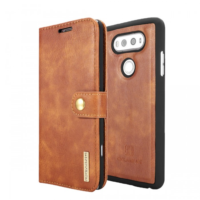 DG MING LG G6 Case Flip Cover Leather Wallet Magnetic Detachable Back Cover for LG G6 - Brown