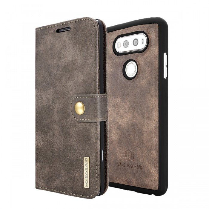 DG MING LG G6 Case Flip Cover Leather Wallet Magnetic Detachable Back Cover for LG G6 - Grey