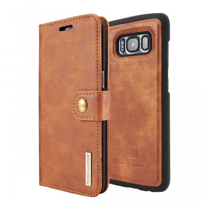 DG MING S8 Case Flip Cover Leather Wallet Magnetic Detachable Back Cover for Samsung Galaxy S8 - Brown