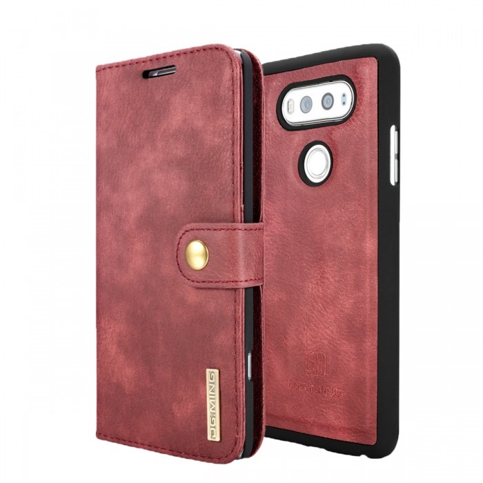 DG MING LG G6 Case Flip Cover Leather Wallet Magnetic Detachable Back Cover for LG G6 - Red