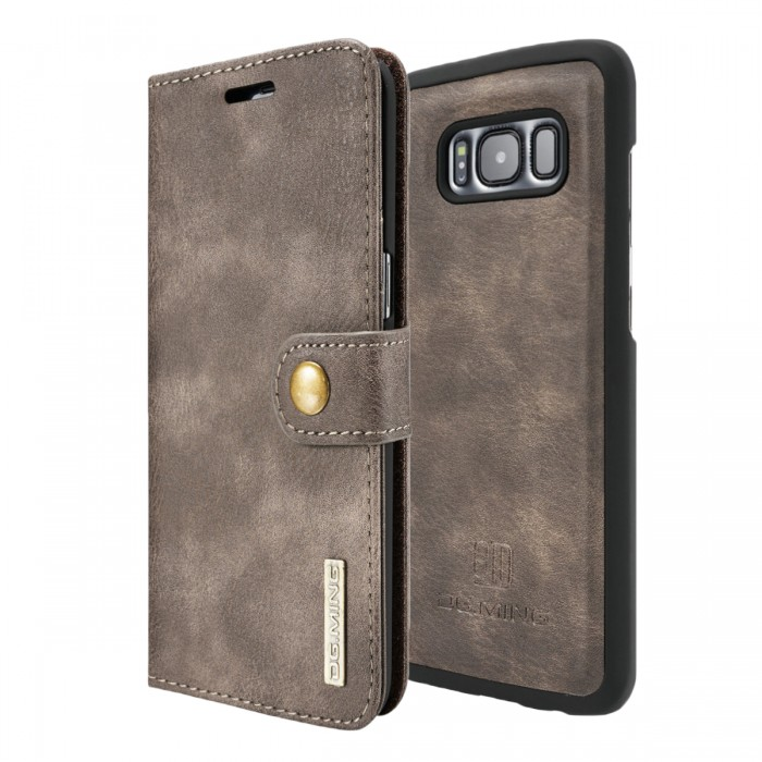DG MING S8 Case Flip Cover Leather Wallet Magnetic Detachable Back Cover for Samsung Galaxy S8 - Grey