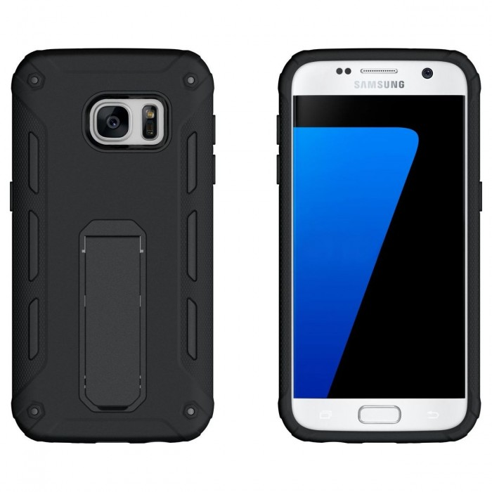 Cubix Ultra Stand Defender Heavy Duty Protection Slim Anti-Scratch Dual layer Rugged Black Case for Galaxy s7 Edge (Black)