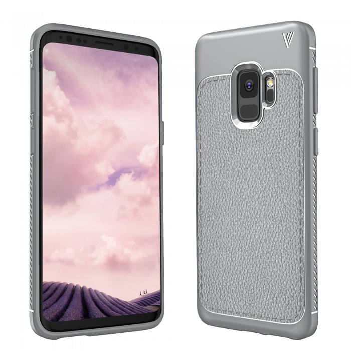 Cubix Leather TPU Case, [Lightweight Bumper] [Anti-Scratch] [Leather Texture Pattern] Shock Resistant Rubber Silicone TPU Slim Case for Samsung Galaxy S9 (Grey)