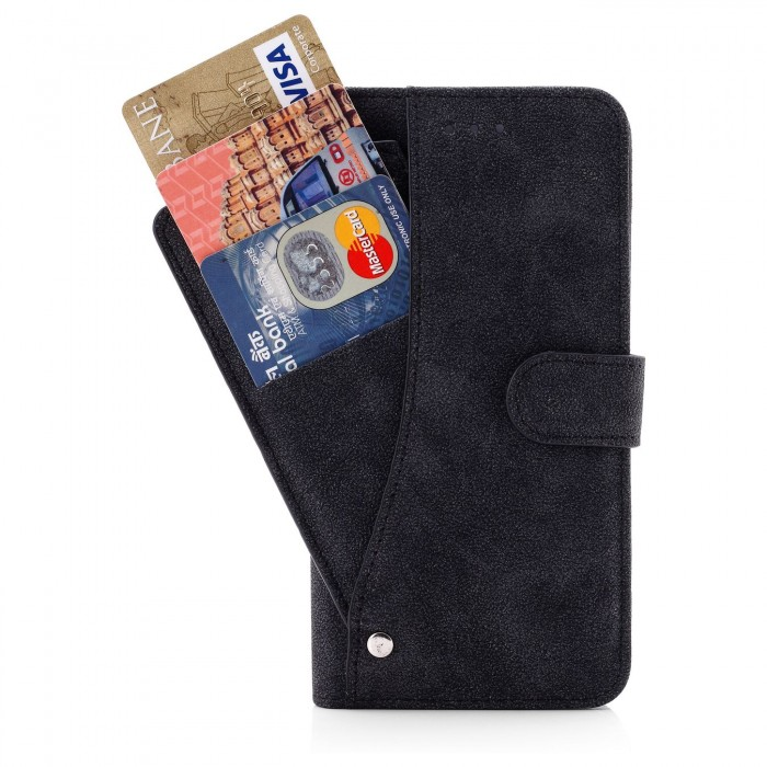 Cubix Flip Cover for Apple iPhone 6 Plus Apple iPhone 6s Plus Slide Out Pouch Leather Wallet Case Protective Back Cover (Black)