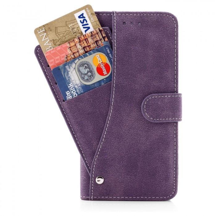 Cubix Flip Cover for Apple iPhone 7 Plus Apple iPhone 8 Plus Slide Out Pouch Leather Wallet Case Protective Back Cover (Purple)