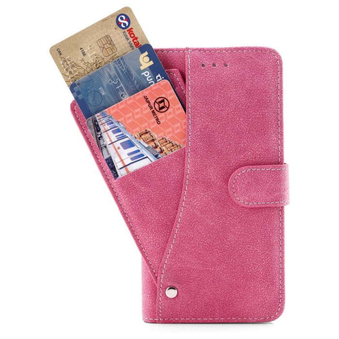 Cubix Flip Cover for Apple iPhone 7 Plus Apple iPhone 8 Plus Slide Out Pouch Leather Wallet Case Protective Back Cover (Pink)
