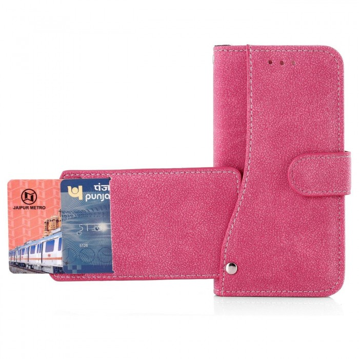 Cubix Flip Cover for Apple iPhone 6 & iPhone 6s (4.7 Inch) Slide Out Pouch Leather Wallet Case Protective Back Cover (Pink)