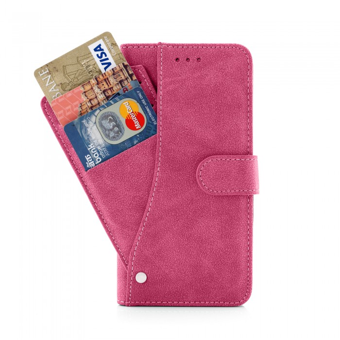 Cubix Flip Cover for Apple iPhone 6 Plus Apple iPhone 6s Plus Slide Out Pouch Leather Wallet Case Protective Back Cover (Pink)
