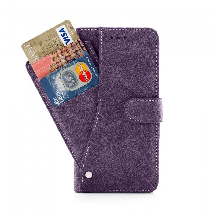 Cubix Flip Cover for Apple iPhone 6 Plus Apple iPhone 6s Plus Slide Out Pouch Leather Wallet Case Protective Back Cover (Purple)