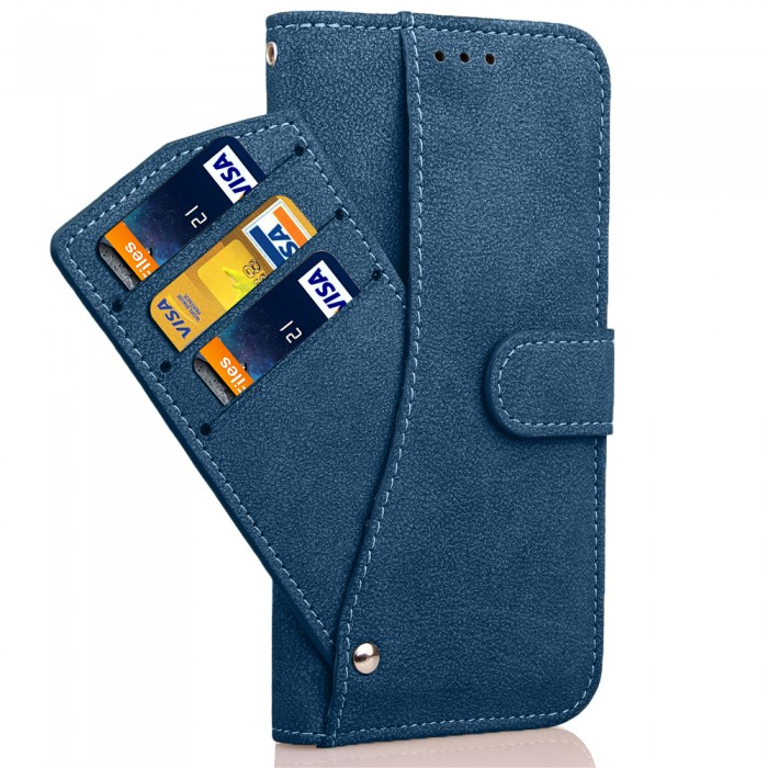Cubix Flip Cover for Samsung Galaxy S7 edge Slide Out Pouch Leather Wallet Case Protective Back Cover (Blue)