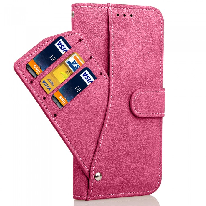 Cubix Flip Cover for Samsung Galaxy S7 edge Slide Out Pouch Leather Wallet Case Protective Back Cover (Pink)