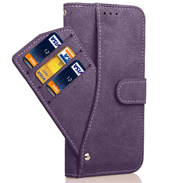 Cubix Flip Cover for Samsung Galaxy S7 edge Slide Out Pouch Leather Wallet Case Protective Back Cover (Purple)