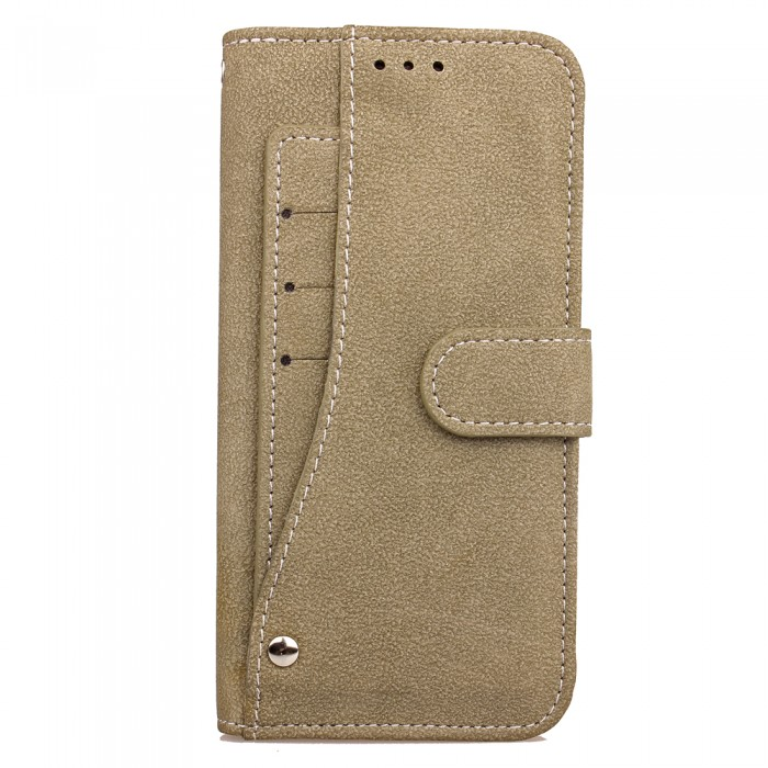 Cubix Flip Cover for Samsung Galaxy S8 Slide Out Pouch Leather Wallet Case Protective Back Cover (Khaki)