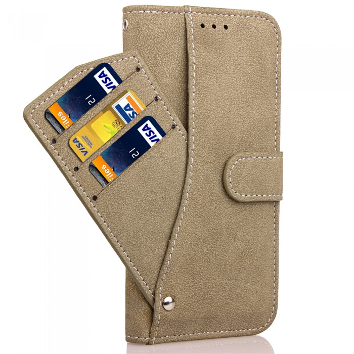 Cubix Flip Cover for Samsung Galaxy S8+ Galaxy S8 Plus Slide Out Pouch Leather Wallet Case Protective Back Cover (Khaki)