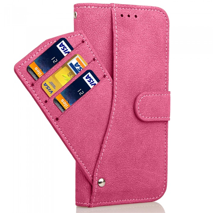 Cubix Flip Cover for Samsung Galaxy S8+ Galaxy S8 Plus Slide Out Pouch Leather Wallet Case Protective Back Cover (Pink)