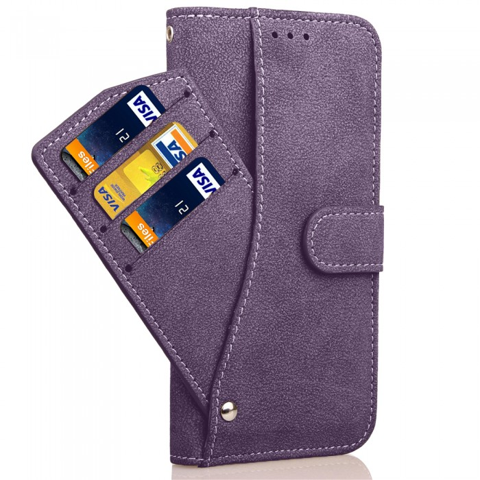 Cubix Flip Cover for Samsung Galaxy S8 Slide Out Pouch Leather Wallet Case Protective Back Cover (Purple)