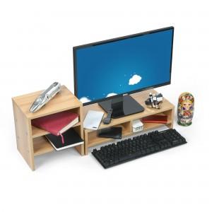 Cubix Monitor Stand / Monitor Riser Computer PC Laptop Desk Printer Stand, with Storage Organizer Multi Media Cellphone TV Printer Stand Desktop Container book Shelf Organizer