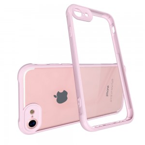 CUBIX Air Bag Case For Apple iPhone 7, Apple iPhone 8 Shock Absorbing Soft Bumper and Hard Acrylic Anti Scratch Crystal Transparent Back Cover Case for Apple iPhone 7, Apple iPhone 8 (Rose)