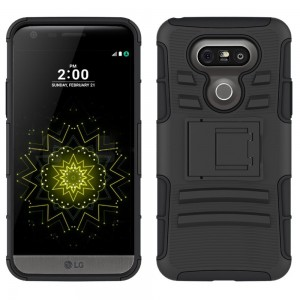 LG G5 Case, CUBIX [Heavy Duty Series] Armor Holster Defender Full Body Protective Hybrid Case Cover with Belt Swivel Clip for for LG G5 (Black)
