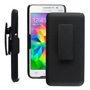 Galaxy Grand 2 Case CUBIX Ribbed Shell Holster Combo Front Back Case Cover For Samsung Galaxy Grand 2, Grand 2 G7102, Grand 2 G7106 with 180 Degree Kick-Stand & Belt Clip (Jet Black)
