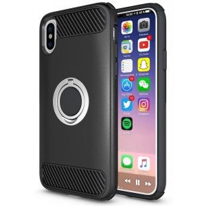 Cubix Hybrid Dual Layer Armor Rugged Heavy Duty Shockproof Anti-Scratch Hard Cover Case with 360 Rotating Ring Grip Holder kickstand for Apple Iphone X (Black)