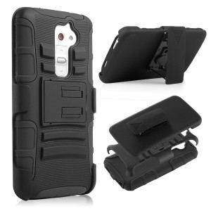 LG G2, LG G2 D802, LG G2 D802T Case CUBIX [Heavy Duty Series] Armor Holster Defender Full Body Protective Hybrid Case Cover with Belt Swivel Clip for for LG G2, LG G2 D802, LG G2 D802T (Black)