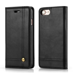 Apple iPhone 7, Apple iPhone 8 Case CUBIX Leather Case for Apple iPhone 7, Apple iPhone 8 Classic Leather Wallet Cases Slim Folio Book Cover with Credit Card Slots Cash Pocket Stand Holder Magnet Closure (Black)