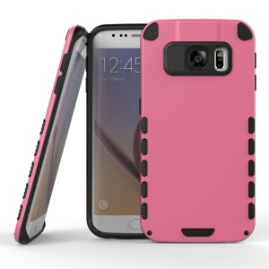 Samsung Galaxy S6 Edge Case (Cubix) Armor Robot Cover [Anti Scratch] Slim-Fit Two Layer Defender Bumper Back cover For Samsung Galaxy S6 Edge (Pink)