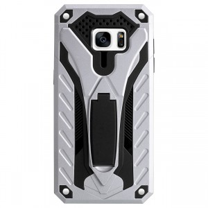 Cubix Case for Samsung Galaxy S7 EDGE Robot 2017 Series Case Back Cover Hybrid Defender Bumper shock proof Case Armor Cover With 2 way Stand for Samsung Galaxy S7 EDGE (Silver)