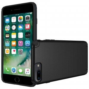 Cubix Flex Series Slim Rugged Drop Tested Case Supports Magnetic Car Mount Back Cover Case for Apple iPhone 6 Plus, iPhone 6S Plus, iPhone 7 Plus, iPhone 8 Plus (Black)