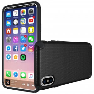 Cubix Flex Series Slim Rugged Drop Tested Case Supports Magnetic Car Mount Back Cover Case for Apple Iphone X (Black)