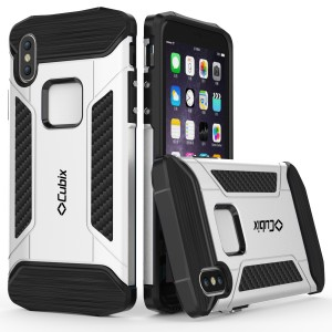 Cubix CFX Case For Apple iPhone X Hybrid Shockproof Case Mil-Spec Drop Tested Case for Apple iPhone X - Silver