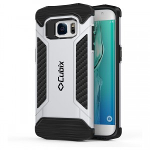 Cubix CFX Case For Samsung Galaxy S7 EDGE Hybrid Shockproof Case Mil-Spec Drop Tested Case for Samsung Galaxy S7 EDGE - Silver