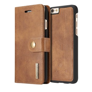 DG MING Apple iPhone 6, Apple iPhone 6s Case Vintage Genuine Leather Wallet Case Flip cover Magnetic Detachable Leather Back Cover 3 Card Slots 1 Cash Slot Removable Cover Case with Card Holder for Apple iPhone 6, Apple iPhone 6s (Tan brown)